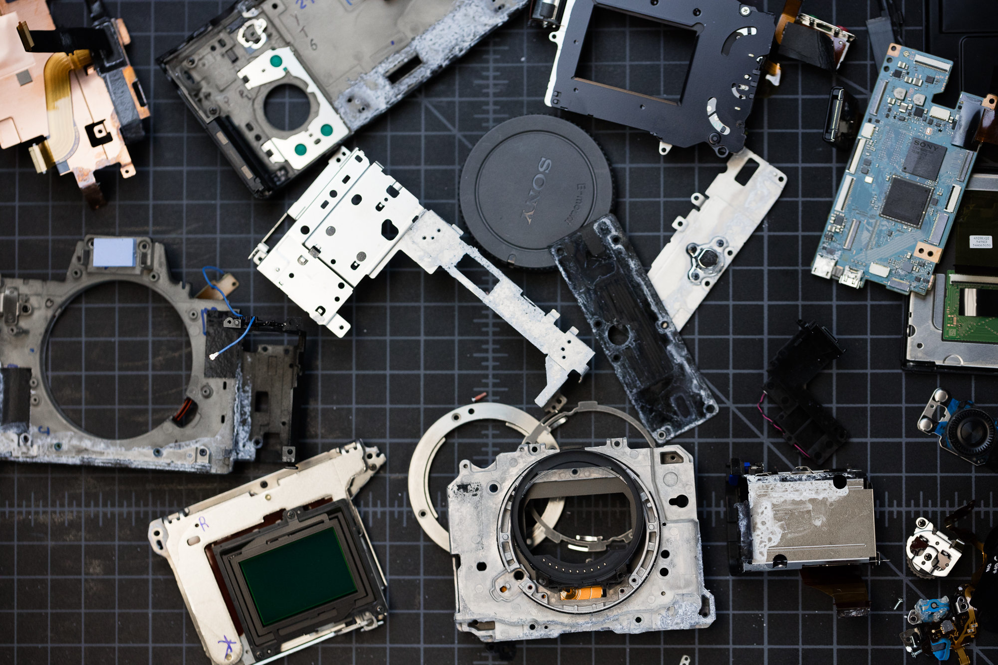 Sony A7sII disassembled into parts