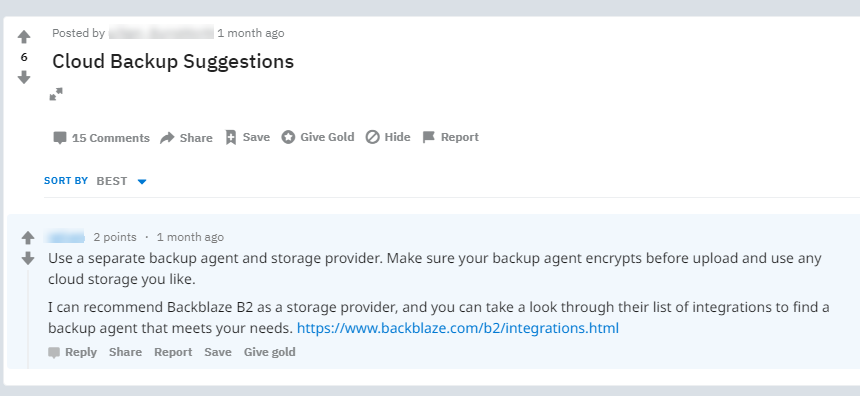 Cloud Backup Suggestions on Reddit