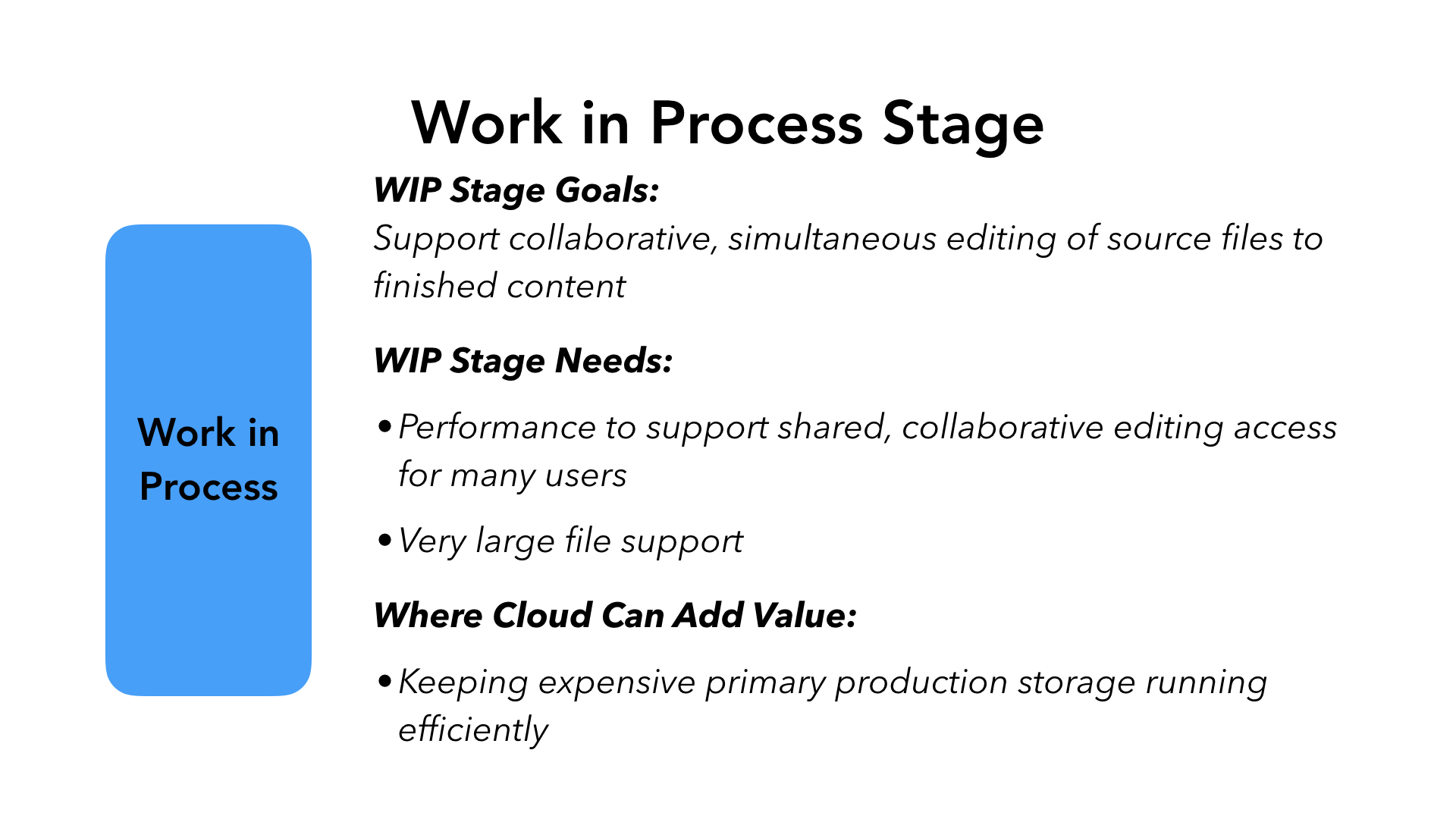 Work in Process Stage - WIP Stage Goals: Support collaborative, simultaneous editing of source files to finished content. WIP Stage Needs: Performance to support shared, collaborative editing access for many users. Very large file support. Where Cloud Can Add Value: Keeping expensive primary production storage running efficiently.