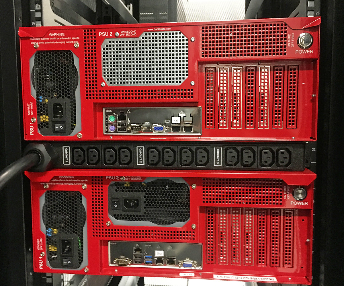 Custom PDU in a cabinet between two Storage Pods