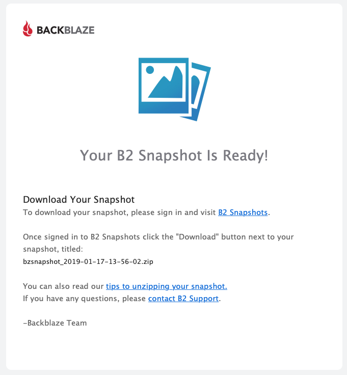 Your B2 Snapshot is Ready!