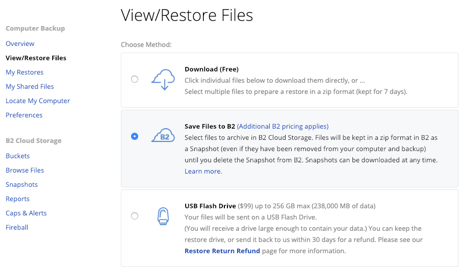 screenshot of the View/Restore Files options
