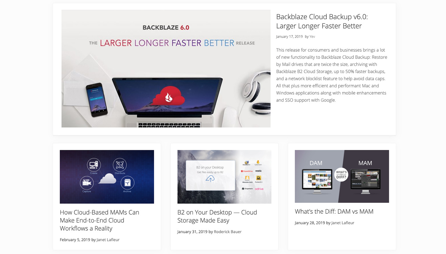 screenshot of the new Backblaze blog homepage