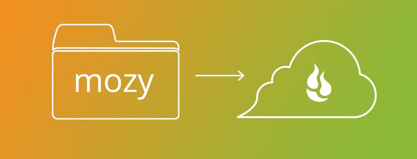 Mozy logo pointing to Backblaze logo