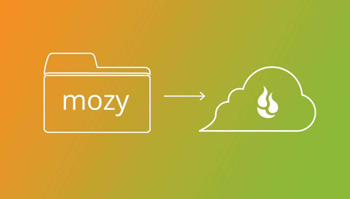Mozy logo pointing to Backblaze logo