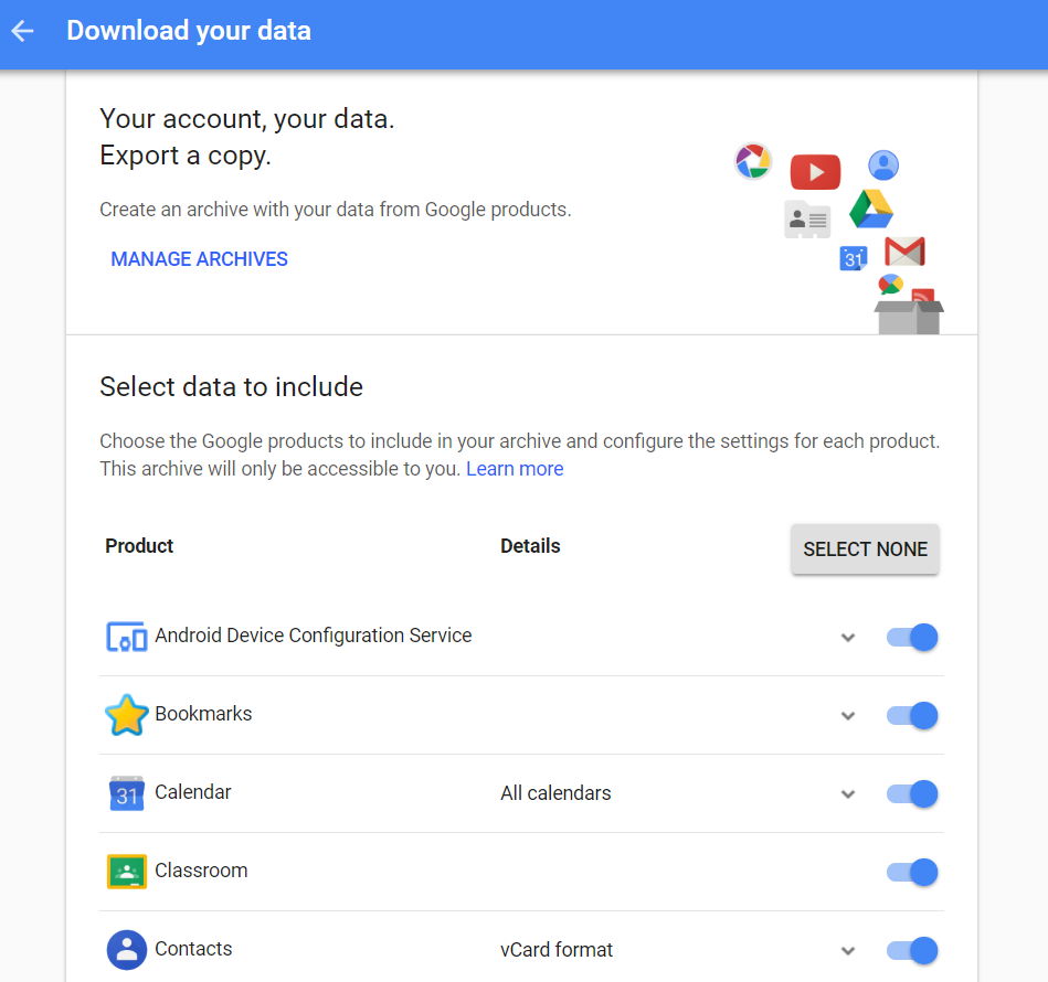 Google dialog to download your data