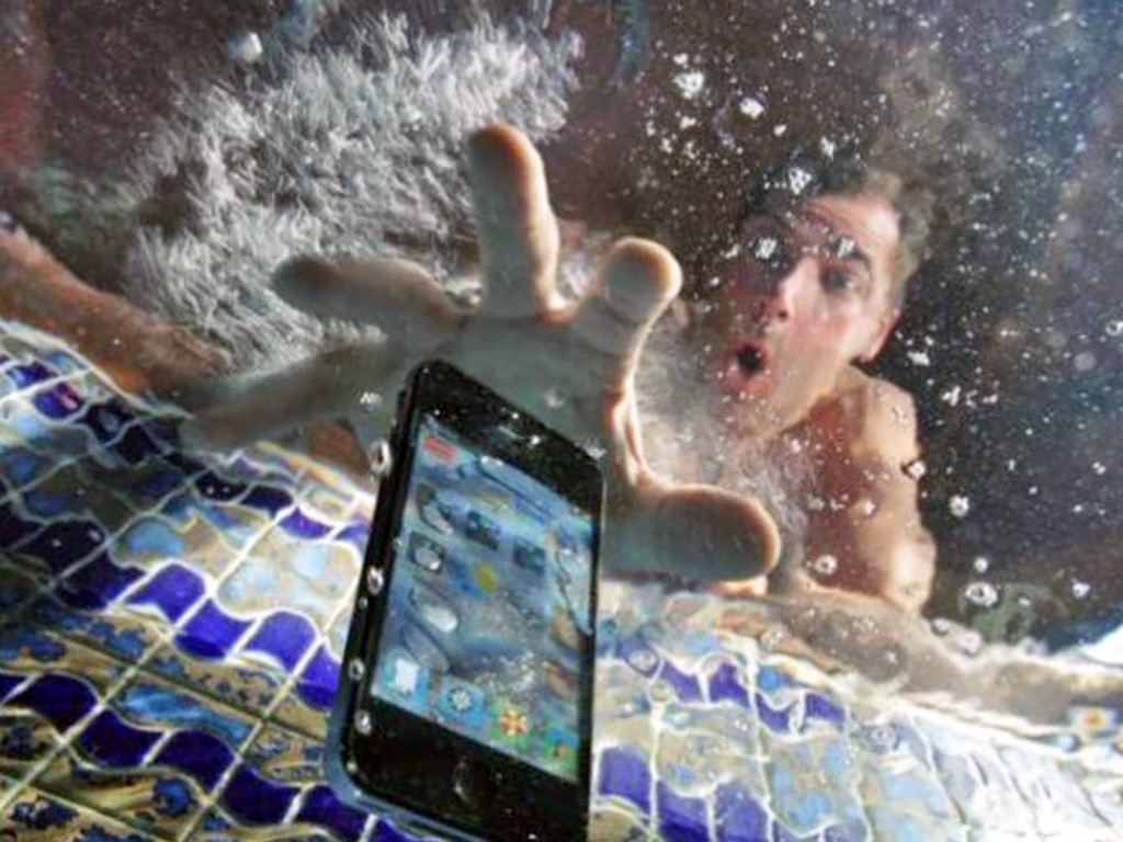 Mobile phone in pool