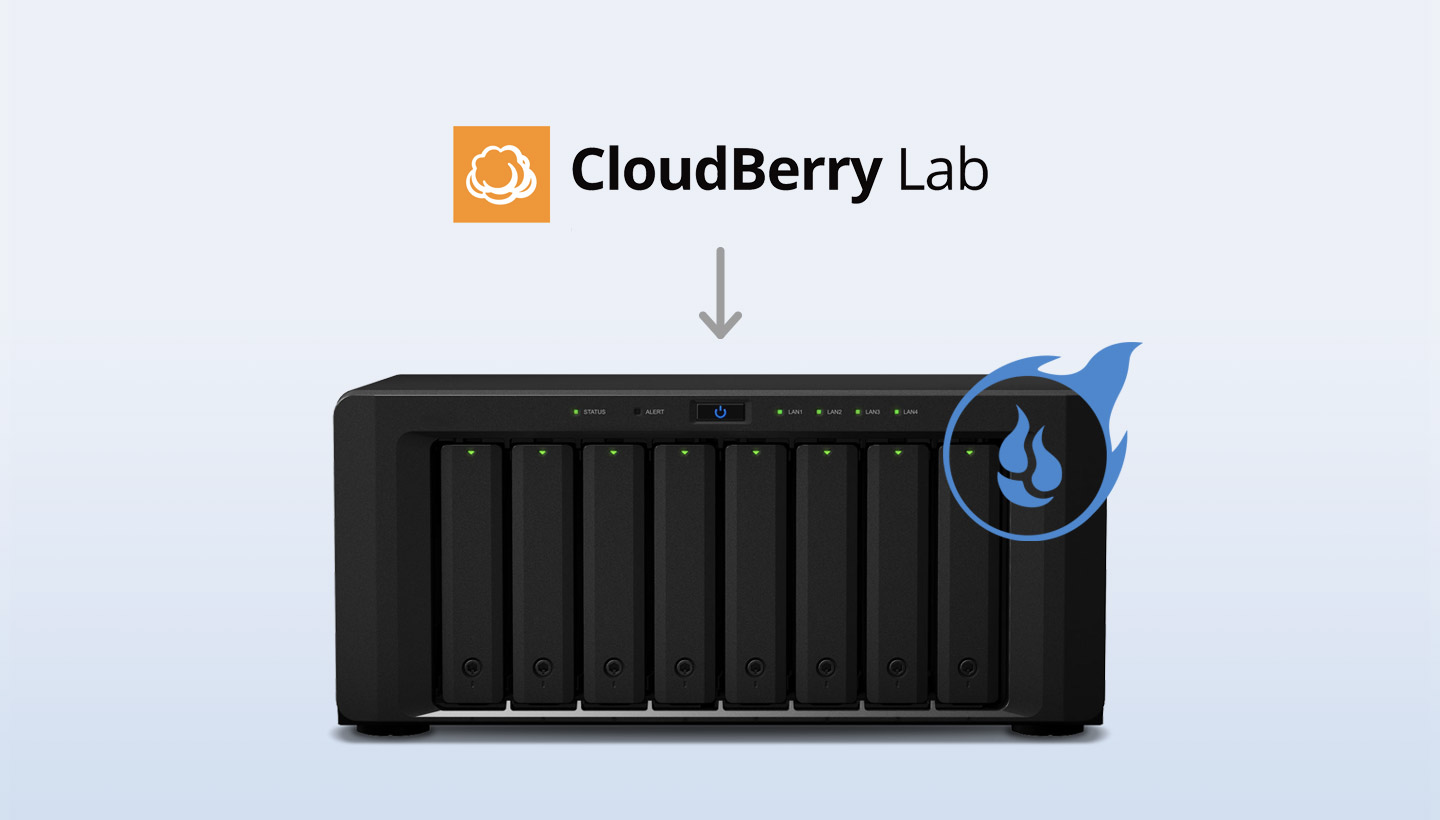 CloudBerry Lab adn Backblaze logos on a server