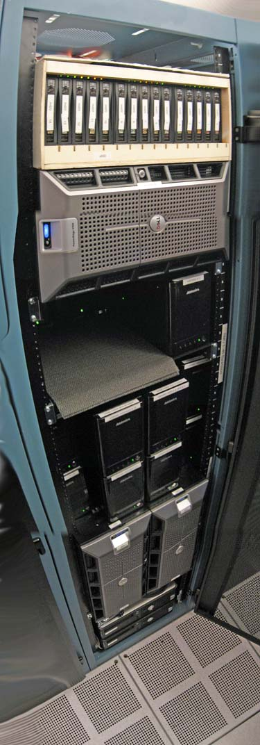 Backblaze's first data storage cabinet to hold customer data (2009) (front)