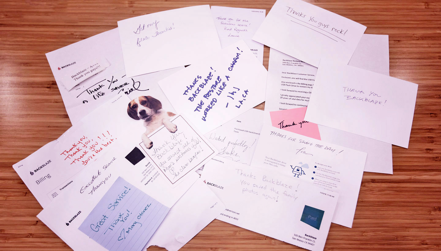 collage of thank you notes sent to Backblaze
