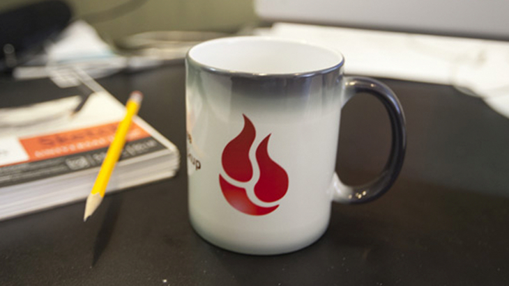 Backblaze coffee cup