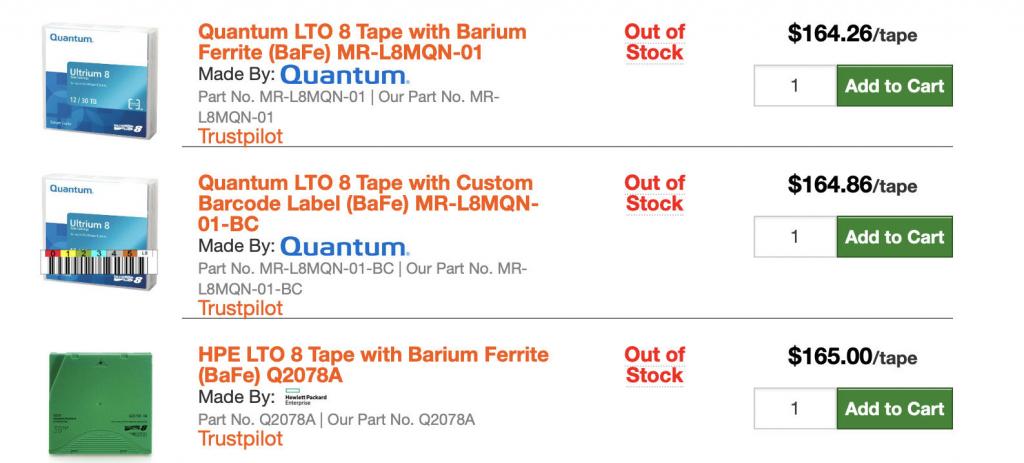LTO-8 Ultrium Tape Cost