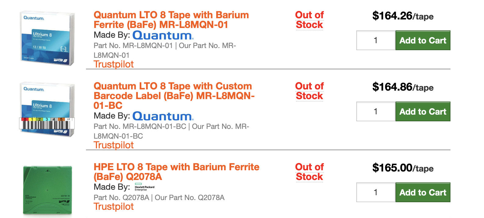 All LTO-8 tapes for sale at tapeandmedia.com are marked out-of-stock on June 8, 2019