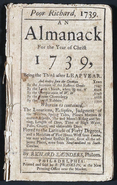 Benjamin Franklin's Poor Richard's Almanac from 1739