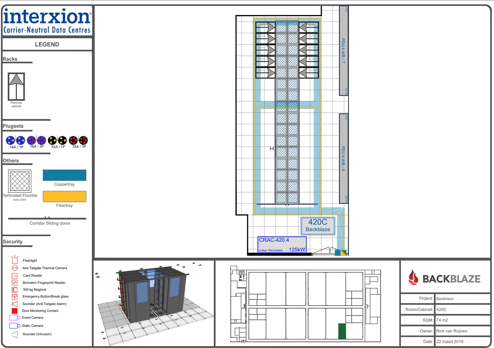 Interxion - Backblaze data center floor plan
