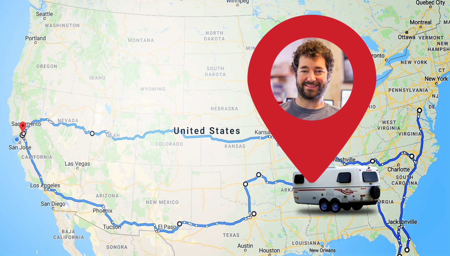 map of the US with Elliott, digital nomad and Backblaze Sysadmin