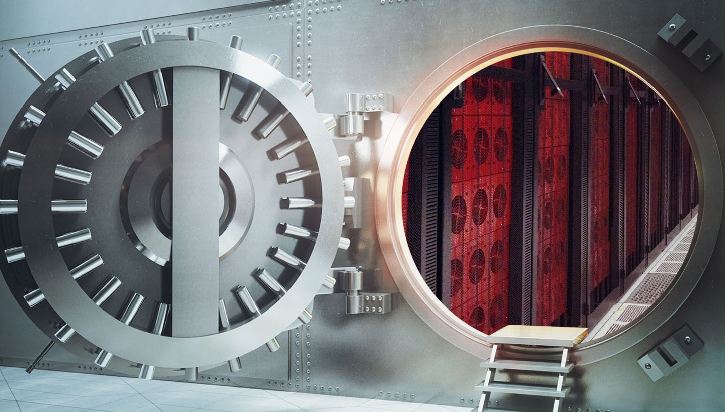 a vault with Backblaze Storage Pods inside