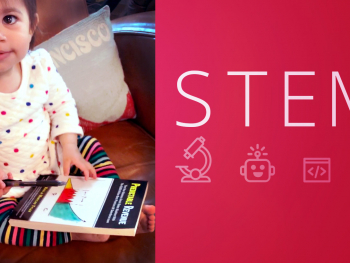 Science, Technology, Engineering and Math acronym (STEM) paired with graphic representations of each field and a photo of a young girl holding a statistics book.