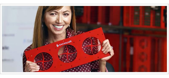 Tina Cessna, Backblaze's VP of Engineering, holding a Storage Pod Vent