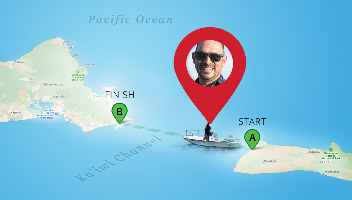 Map showing Digital Nomad Chris Aguilar at Work in the Ka'iwi Channel