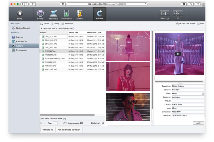 Archiware admin console screenshot