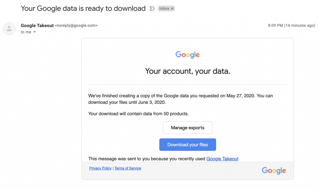 Your Google data is ready to download