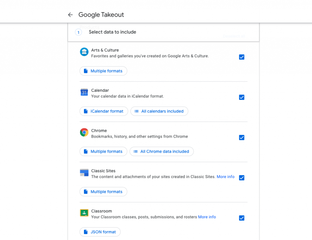 Google Takeout select data screenshot