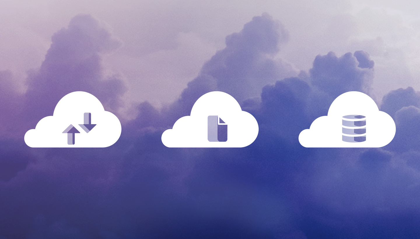 illustration of cloud backup, cloud sync, and cloud storage