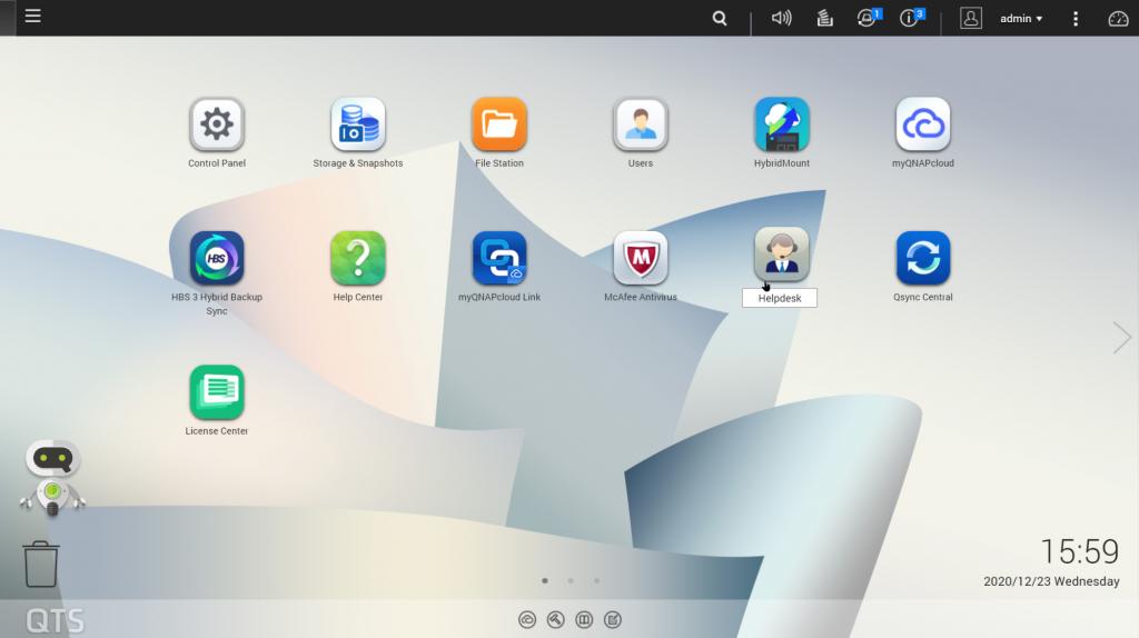 NAS OS dashboard