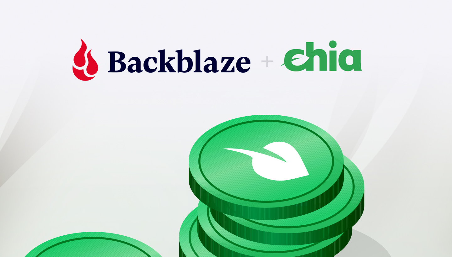Backblaze logo side by side with the Chia logo over a stack of Chia coins