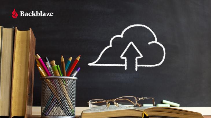 Backblaze logo and cloud drawing on a school blackboard