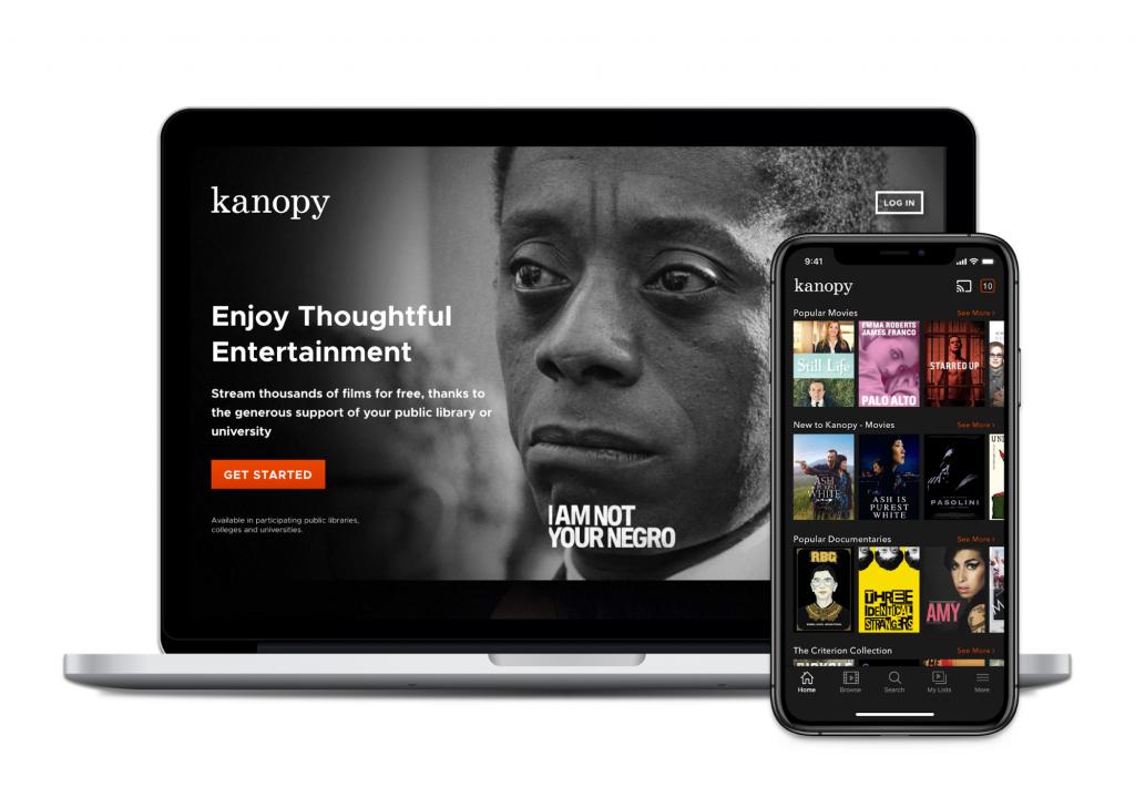 Kanopy laptop and app screenshots