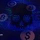 Ransomware skull and code symbols