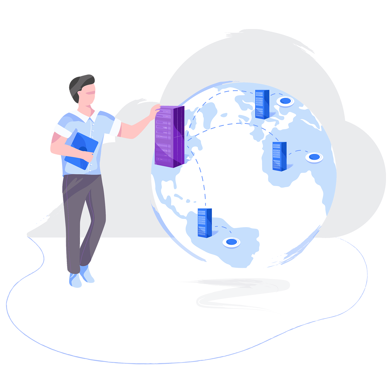 Business Cloud Server Backup Hero Illustration